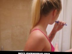 Step Bro Cums Inside Sister While She Brushes Her Teeth