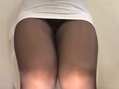 crossdresser pantyhose legs white mini 157