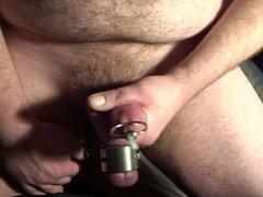 Thick load through my big penis plug (2 angles - 13.1.17)