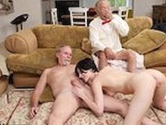 Old man sucking young cock first time