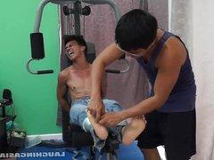 Asian Boy Argie Tickled On The Gym