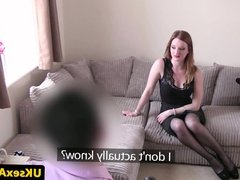 Bigtitted ginger brit fucks on casting couch