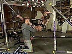 Gay twinks in bondage hanging upside down