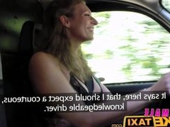 FemaleFakeTaxi Big tits babe licks hot shaven pussy on bonnet in forest
