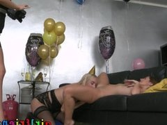 Girlfriends Lez girls lick in new year part 1