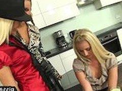 Lesbians enjoy drinking piss before biz meeting
