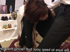 Subtitled Japanese funeral blowjob with enema explosion HD