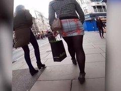 pantyhose blonde shopping in miniskirt