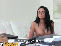Nice tits Anny fingered hard in office