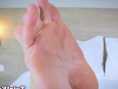 Barefeet ladyboy beauty curling her toes