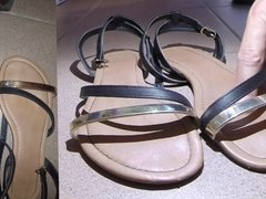 Hot blonde girl's sandals cummed - she puts them on! (HD)