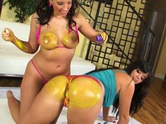Alison and Kelly paint and fuck each other