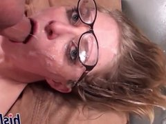Nerdy blonde babe delivers an amazing blowjob
