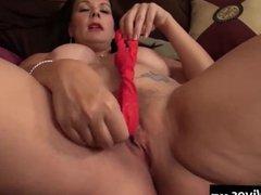 USA Wife with big toy has fun