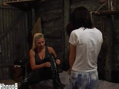 Curious Brunette Caught By Lesbian Huntress And Tied Up