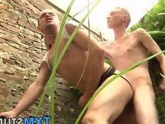 Naughty twink gets hardcore punishment outdoor for fun