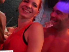 Doggystyled euro babe swallows cum at party