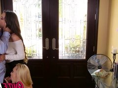 Intern babes Cassidy and AJ join together for a threesome