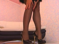 Stockings and high heels tease