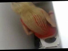 young girl pissing shopping mall toilet