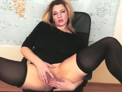 Horny Mature Blonde Fingers Her Wet Pussy