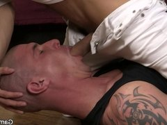 He pleases bald hunk with gay blowjob and banging