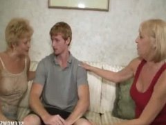 Two blonde grannies suck a dick