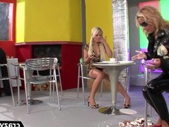 European babes get wet and messy during catfight