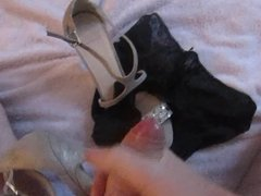 Cumming over wife's panties and shoe