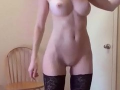 solo girl in the office with a dildo