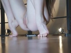 Nude teen stretches out