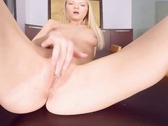 Hungry Sicilia feeding her pussy on dinner table