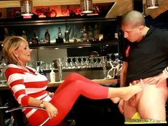 Sexy Mature Gives Young Guy a Footjob