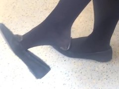 Candid Feet Dangling Shoeplay Black Tights Nylons