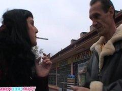 Sexy Brunette Fucks Stranger from the Street