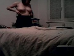 Spying on busty milf getting changed