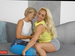 Blonde Mom and teen make each other Wet