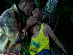 Sara bound and fucked in the woods