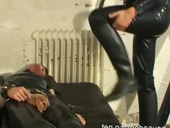 Leather Slave gets whipping and Domination