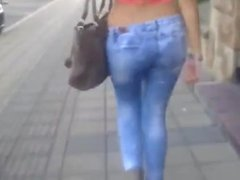 Serbian girl walking with great ass and legs-Sprkinja
