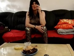 sandralein33 smoking and making Dirty talk in leopard outfit