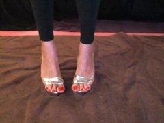 Red toes in heels
