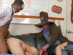 Hunk employee interracial buttfucked