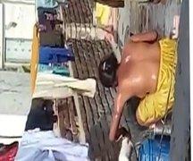 Aunty Bathing Topless in Terrace..