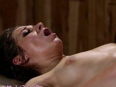 Lesbian masseuse tribbing her client