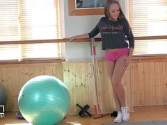 Russian Nympho fucks till she cries with pleasure at the gym