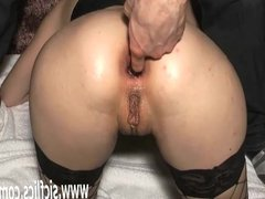 Brutal anal fisting and wine bottle insertions