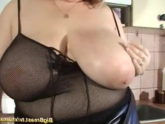 my extreme big natural breast mom alone at home