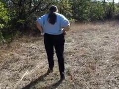 Fat mature woman pissing and farting outside