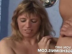 Threesome with a german big breasted mom natural giant boobs mature bbw